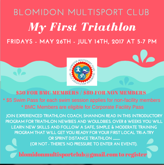 My First Triathlon Program Starts May 26th